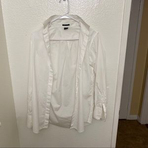 Theory White long sleeve button down blouse.